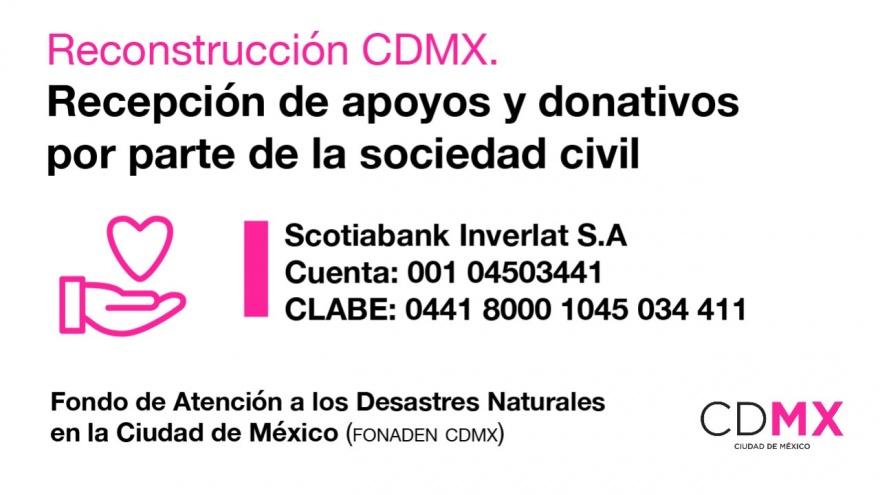 Donativos para apoyar a la reconstrucción de CDMX